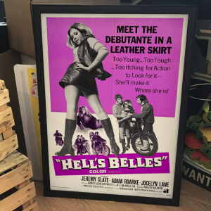 - FRAMED BIKERS EXPLOITATION MOVIE POSTER - Hell's Belles (American International, 1969)