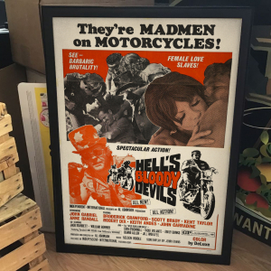 - FRAMED BIKERS EXPLOITATION MOVIE POSTER - Hell's Bloody Devils (Independent-International, 1970)