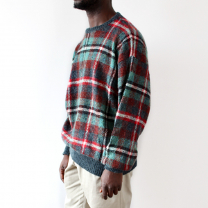 Men's Mohair Green Red Checked Sweater