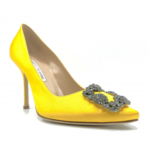 - MANOLO BLAHNIK HANGISI IN SATIN DI SETA YELLOW SATIN, 36,5