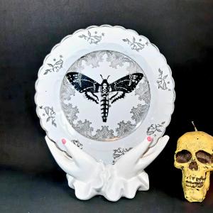 - Piattino Dessert Vintage Falena Testa di Morto