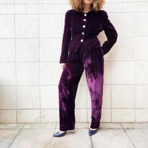 purple Velvet suit , sz 42