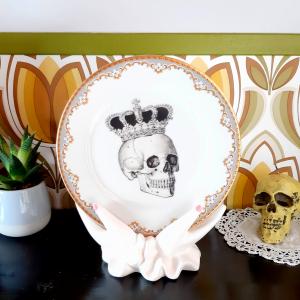 Piattino Dolce Vintage Teschio con Corona