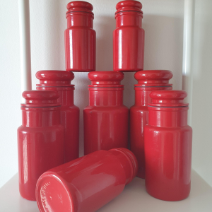- RED POTS, barattoli anni 70 MADE IN ITALY