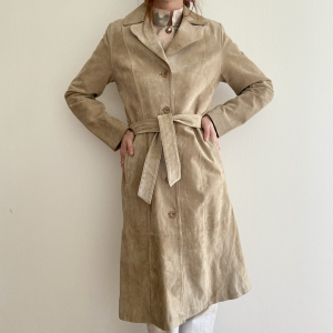 - Trench in pelle scamosciata