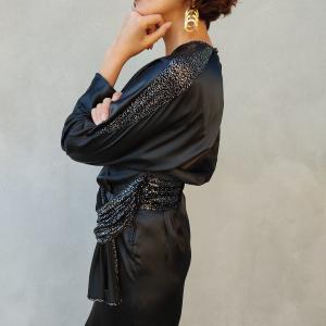 Vestito anni ottanta nero ed argento