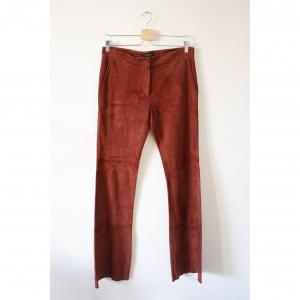 Antonelli Firenze Y2K pantaloni color mattone a zampa in pelle scamosciata stile anni 70
