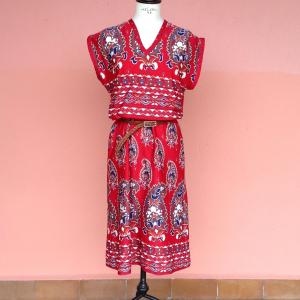 Abito handmade one size rosso fantasia paisley