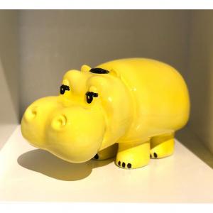 Gadget pubblicitario Pippo Lines BUU Design in ceramica gialla anni '70