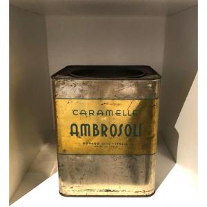 Scatola in latta caramelle al miele Ambrosoli anni '50