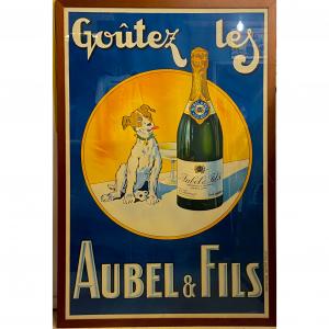 - Manifesto pubblicitario originale d'epoca Aubel & Fils (Champagne - Vino)