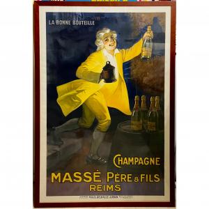 - Manifesto pubblicitario originale d'epoca Champagne Masse Père & Fils - Reims
