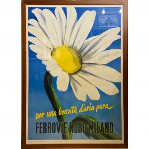 - Manifesto pubblicitario originale d'epoca Ferrovie Nord Milano