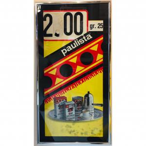 - Cartonato pubblicitario originale d'epoca Caffè Paulista - Armando Testa