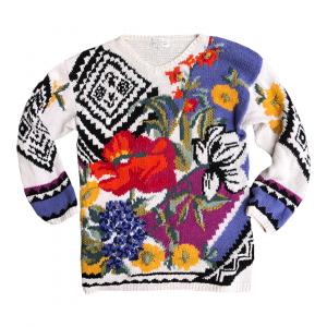 - 90s Womens Hand-knitted Floral Sweater | Maglione Donna Fatto a Mano con Motivo Floreale anni 90