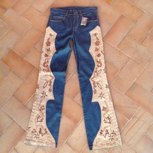 - Jeans inserti in camoscio e paillettes Tg.S