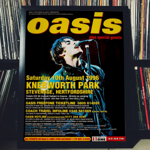 FRAMED CONCERT POSTER - Oasis - Aug. 10, 1996 - Knebworth Park - Stevenage - UK
