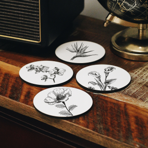 - Flowers Coasters Set