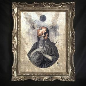 - Fullmoon, stampe da incorniciare, stampa fine art stampata su carta martellata avorio 300gr, donna misteriosa, corvo, illustrazione, gotico Attive