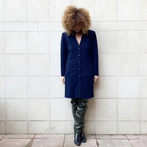 - Yves Saint laurent rive glauche  Jacket/dress , blue wool , sz 36 fr