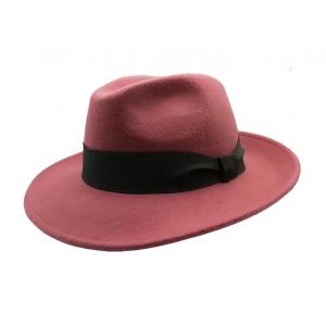 Cappello artigianale in feltro - Modello fedora - Colore rosa pastello