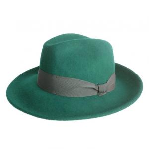 Cappello artigianale in feltro - Modello fedora - Colore verde