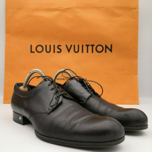 LOUIS VUITTON Scarpe Mens Lambskin Derby Black Leather Shoes Dress Size 8 EU 42 RP 690$