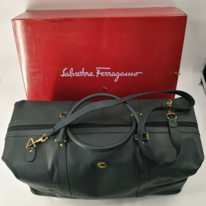 - Salvatore Ferragamo New Authentic Vintage Luggage Travel Leather Gym Duffle Bag NOS