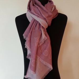 - ORIGINAL LOUIS VUITTON Pink Monogram Logo Cashmere Pashmina Scarf Shawl Wrap