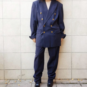 - Jean Paul Gaultier double-breasted suit, blue pinstripe, viscose blend, sz 48 .