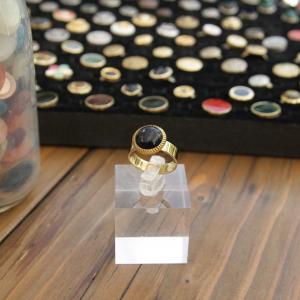 - anello piccolo - da mignolo- nero con bordo color oro