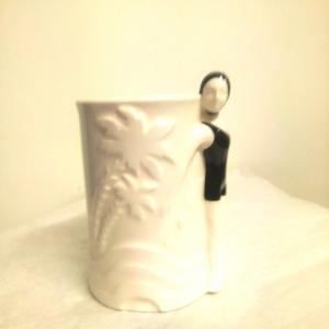- Bicchiere porta spazzolino Bagnanti in costume Nero e cuffietta