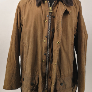 - BARBOUR BEAUFORT CLASSIC VINTAGE 80s/90s WAXED JACKET TAN BROWN COLOR SIZE C38 97CM GRADE B CONDITION
