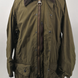 - BARBOUR BEAUFORT CLASSIC VINTAGE WAXED JACKET OLIVE GREEN COLOR SIZE C38 97CM GRADE B CONDITION