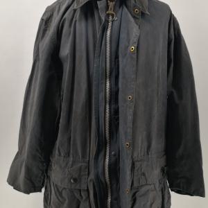 - BARBOUR BORDER CLASSIC LONG VINTAGE 80s/90s WAXED JACKET BLUE COLOR SIZE C40 102 CM GRADE B/C CONDITION
