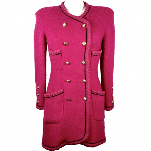 CHANEL CAPPOTTO VINTAGE IN TWEED DI LANA FUCSIA, DONNA 40